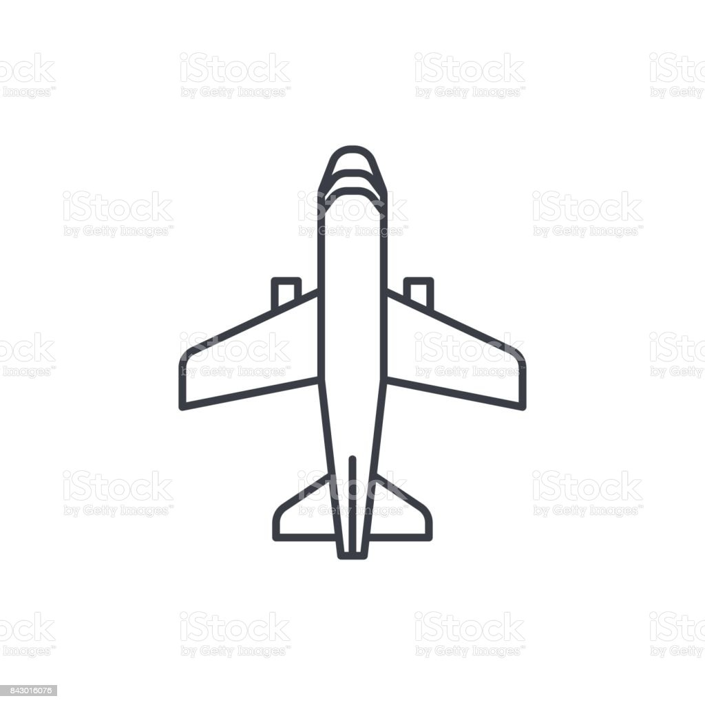 Airplane Boeing Plane Travel Thin Line Icon Linear Vector