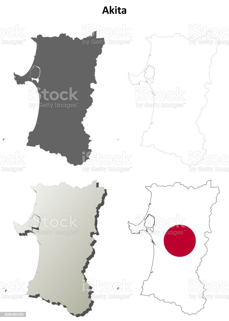 Akita Blank Outline Map Set Stock Illustration Download Image Now Istock