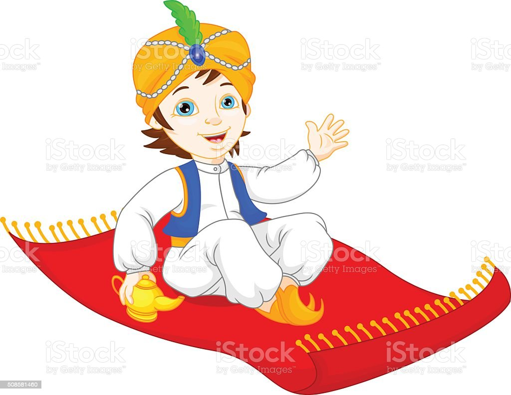 Fliegender Teppich Comic Aladdin On A Flying Carpet Traveling Stock Vector Art