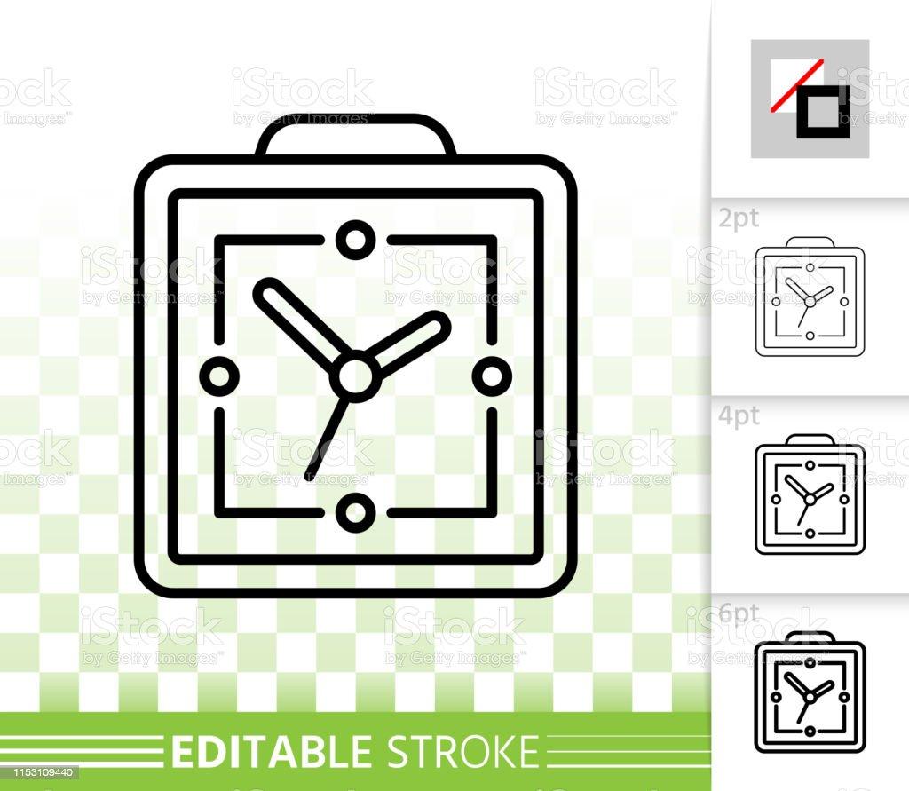 hight resolution of alarm clock simple black line vector icon illustration