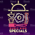 All Day Breakfast Early Bird Special Advertisement Neon Signage Design Stock Illustration Download Image Now Istock