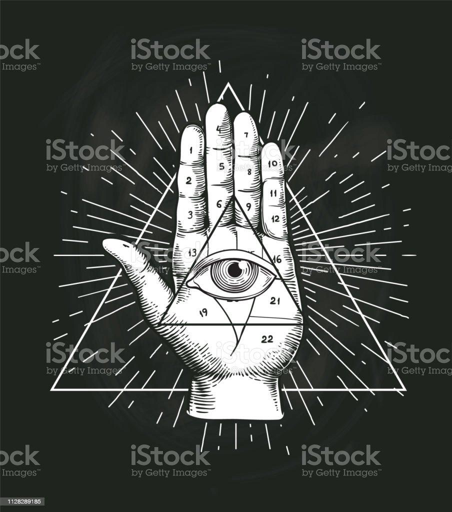 Ilustración De Todos Ver Ojo Triángulo Vector Geométrico Diseño