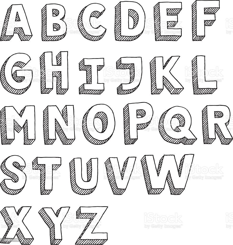 Alphabet Capital Letters Sans Serif Drawing Stock Vector