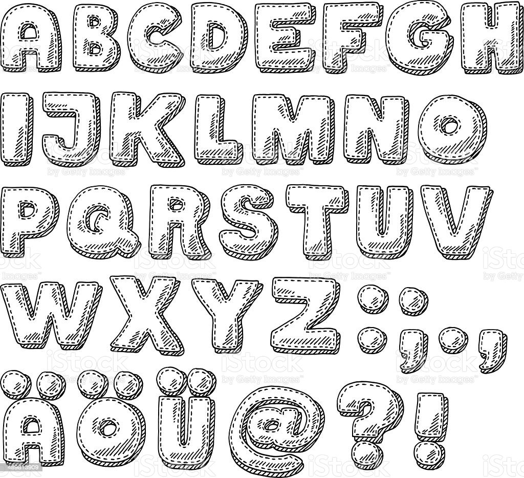 Alphabet Set Stitching Design Drawing Stock Illustration