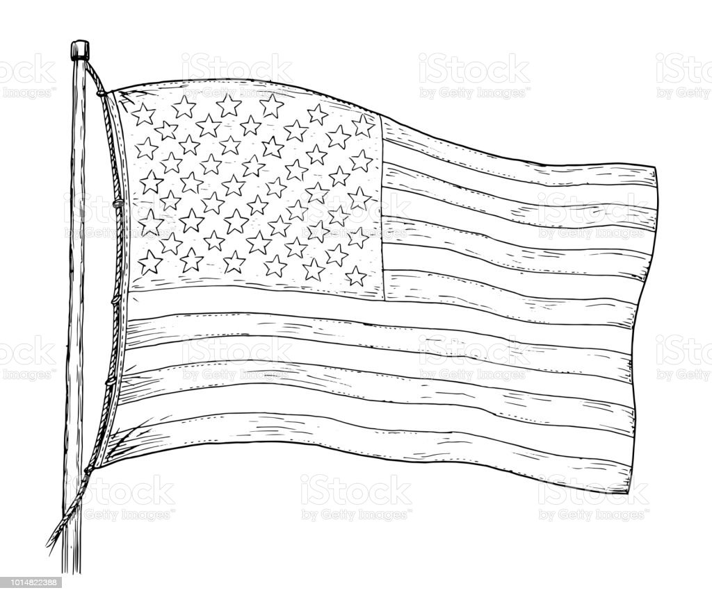 american flag drawing vintage