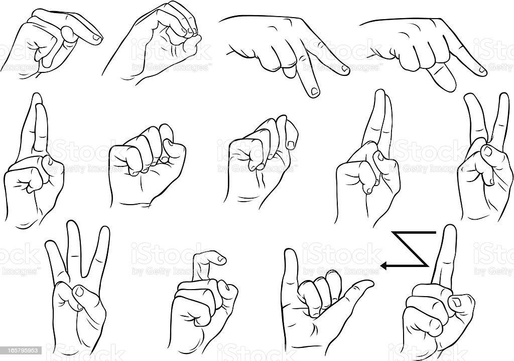 American Single Hand Sign Language Nz Stock Vector Art