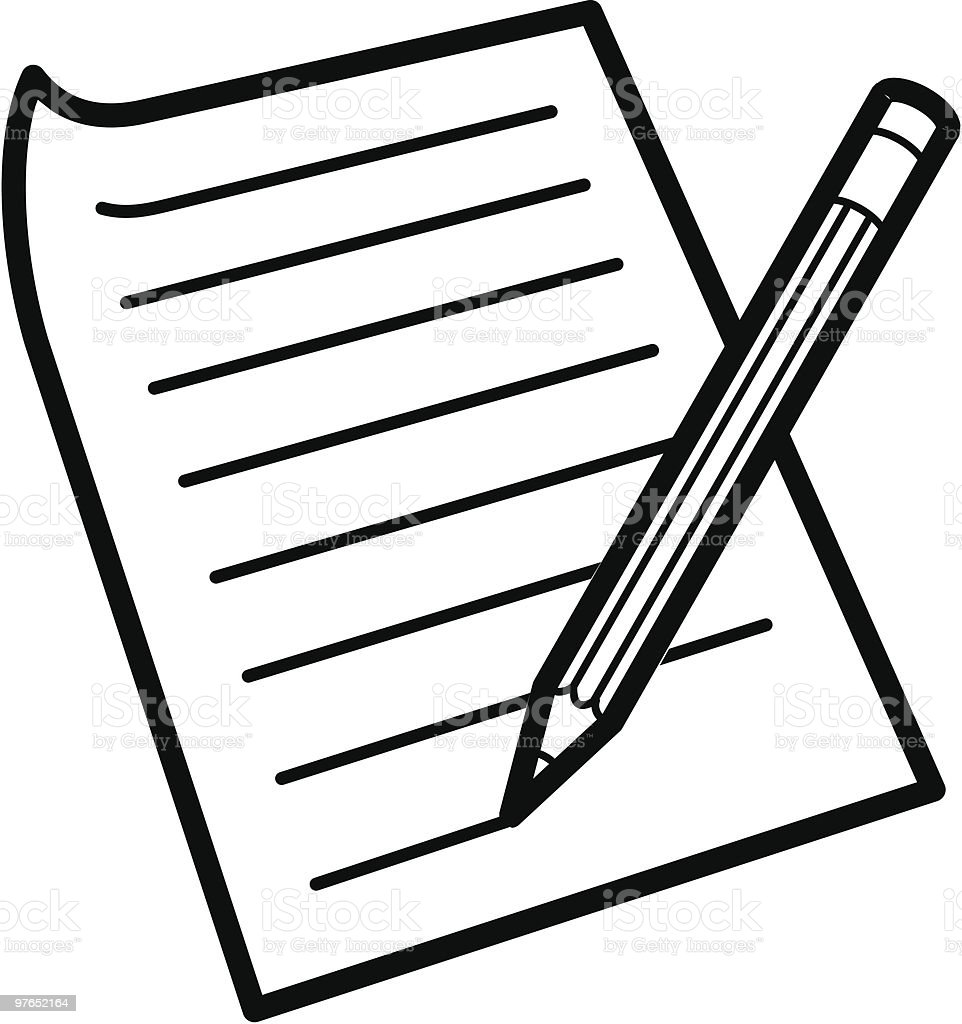 An Illustration Of A Pen And Paper On A White Background