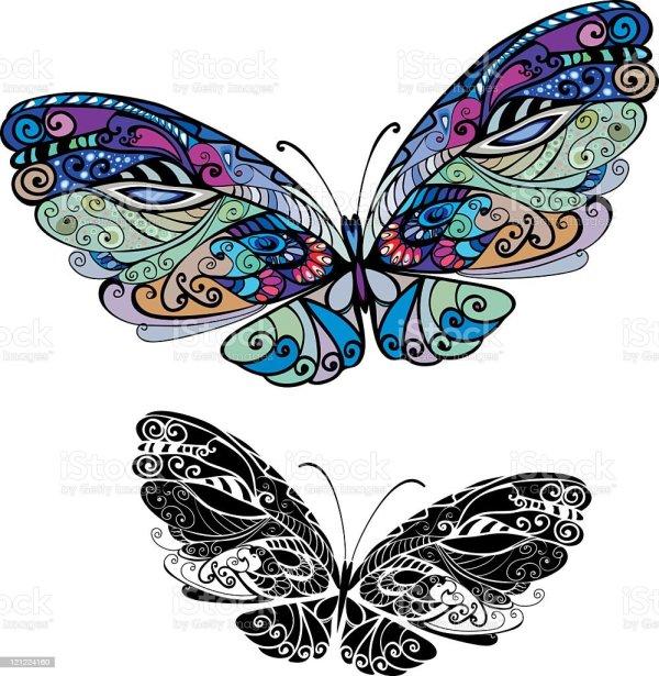 Illustration Of Beautiful Abstract Butterflies Stock