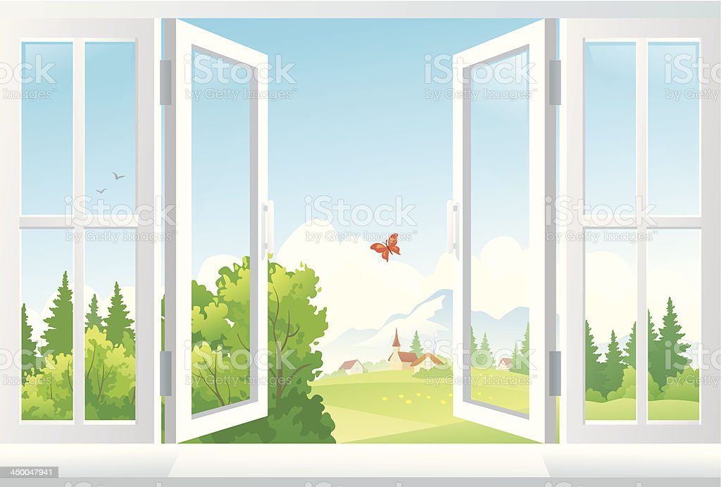 open window clip art vector