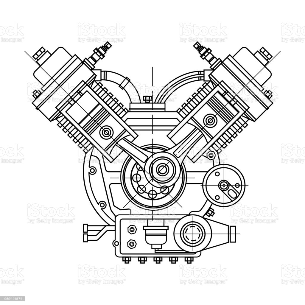 An internal bustion motor the drawing engine of the machine in