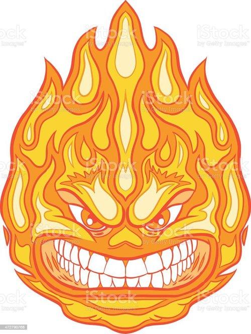 small resolution of angry face fireball vector clip art cartoon illustration
