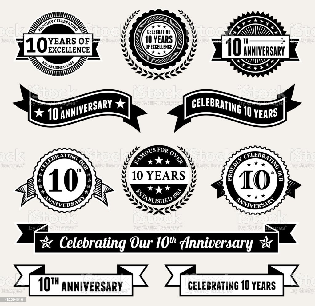 Anniversary Badge Collection Black And White Royaltyfree