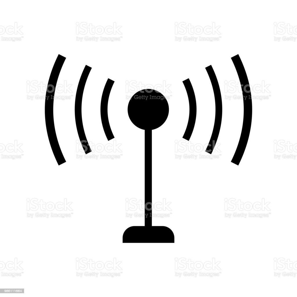 Antenne Avec Signal Lignes Symbole Vecteur Icône