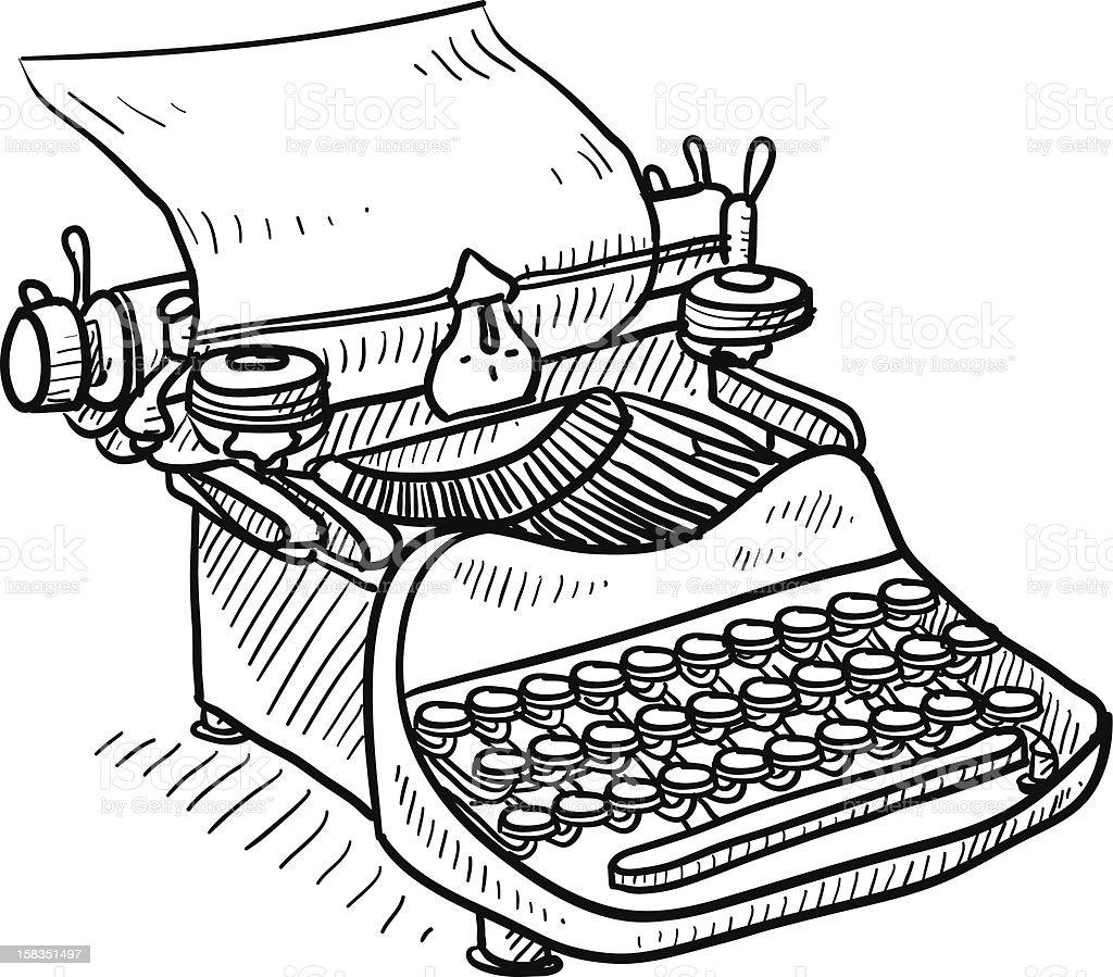 Antike Manuelle Schreibmaschine Skizze Vektor Illustration