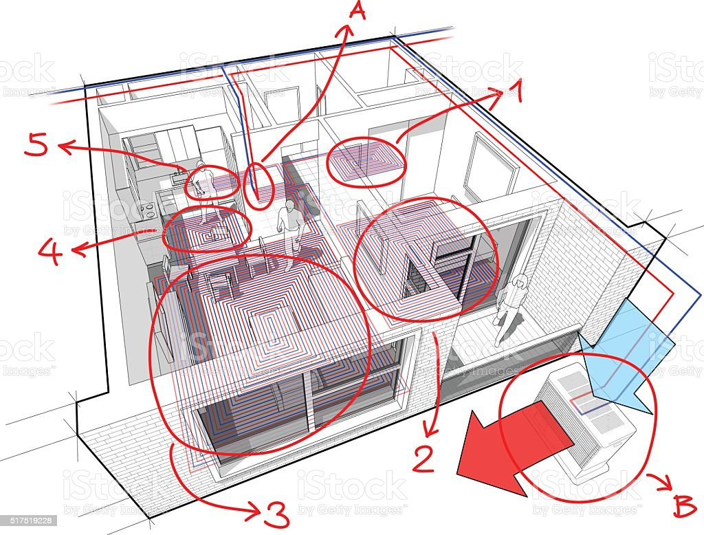 hight resolution of apartment diagram with underfloor heating and heat pump royalty free apartment diagram with underfloor heating