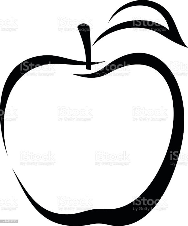 apple vector black contour stock