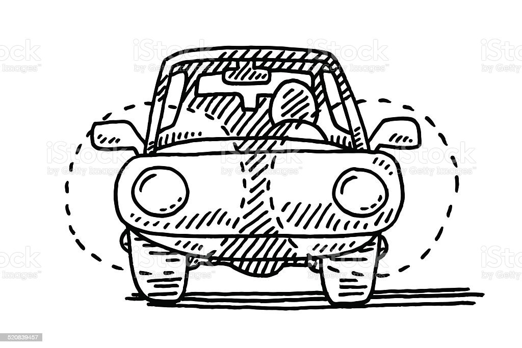 Approaching Car Front Headlights Drawing Stock Vector Art