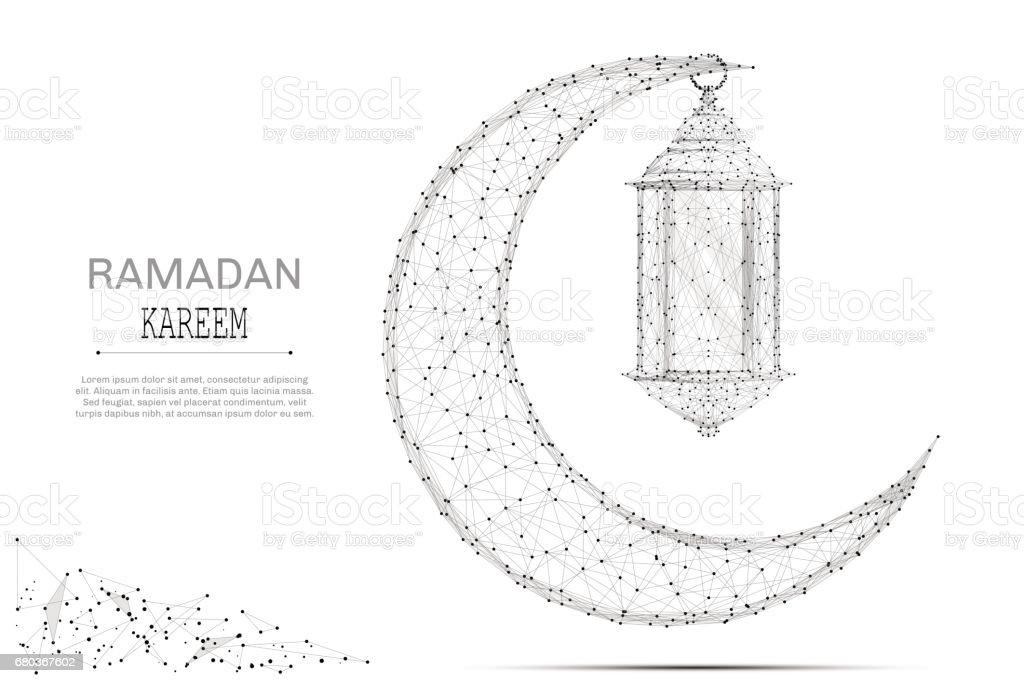 Arabic Moon And Ramadan Lantern Gray Stock Vector Art