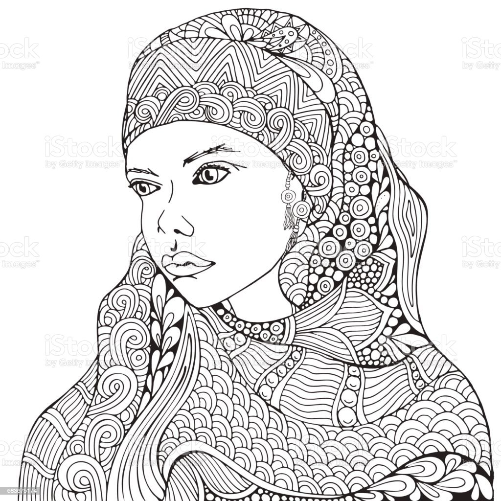 Arabic Muslim Woman Hijab Coloring Book Page For Adult