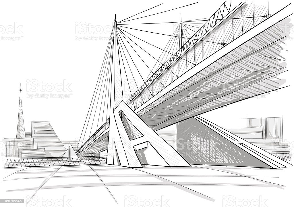Architectural Drawing Of A Bridge Stock Vector Art & More