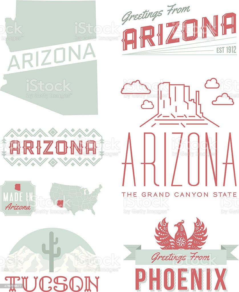 hight resolution of arizona typography vector art illustration