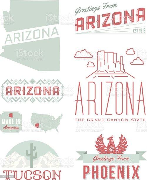 small resolution of arizona typography vector art illustration