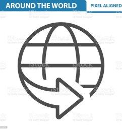 around the world icon illustration  [ 1024 x 1024 Pixel ]