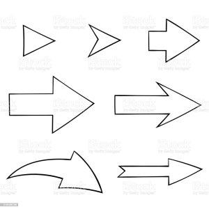 simple outline drawings arrow arrows overzichtstekeningen symbol eenvoudige geplaatste pijlen illustrations
