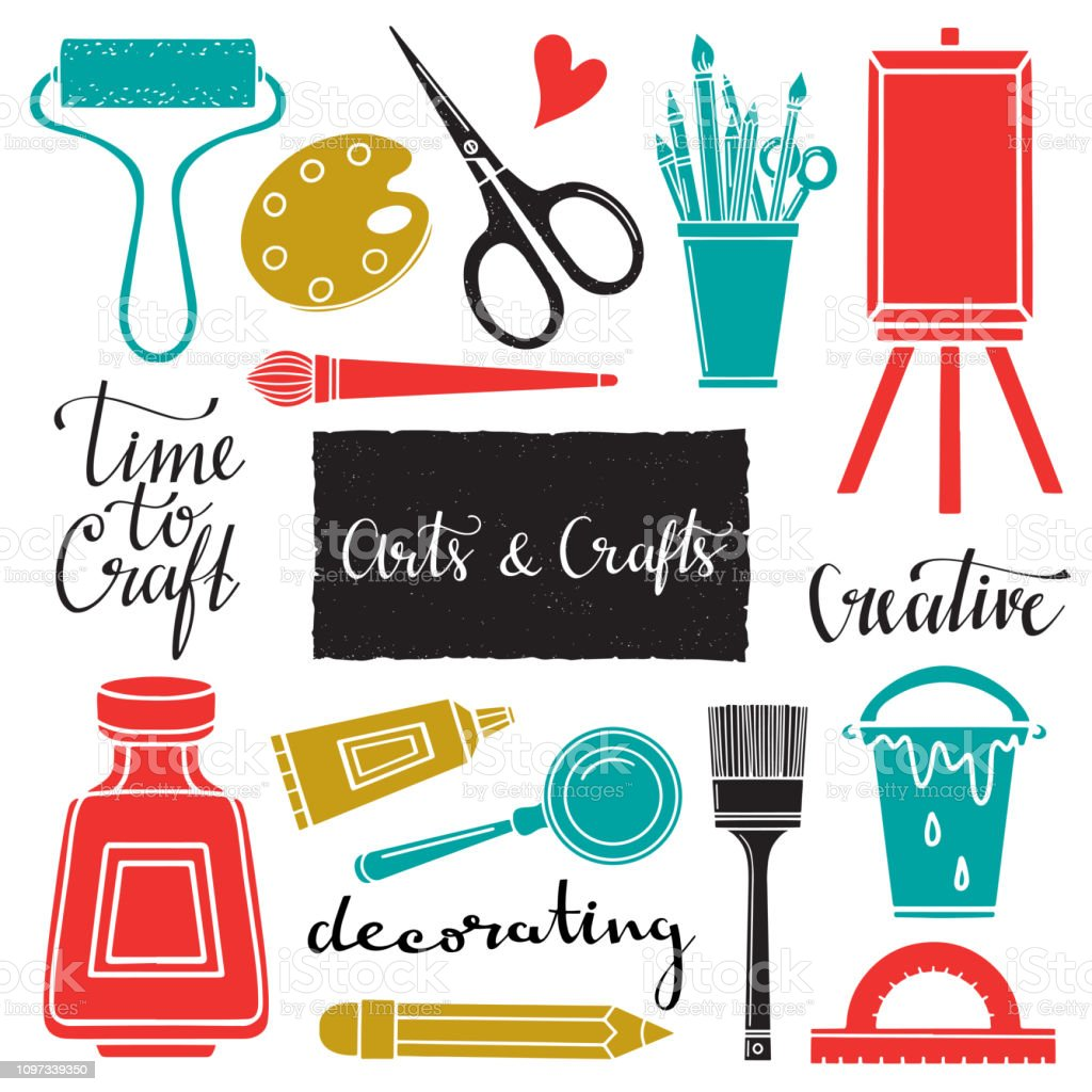 Arts And Crafts Hand Drawn Tools Stock Illustration Download Image Now Istock