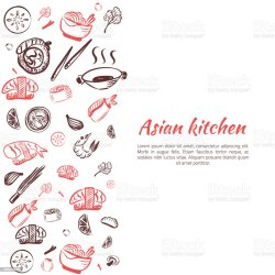 menu frame food asian vector cuisine background restaurant japanese poster doodle chinese clip illustration cooking meat illustrations vectors chicken istockphoto