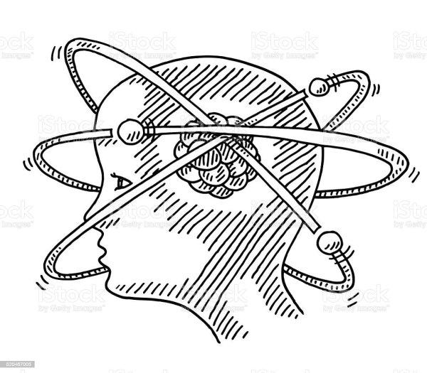 Atom Molecule Science Head Concept Drawing Stock Vector Art & Of Adult 520467005