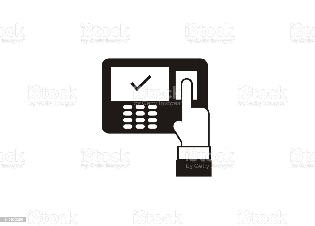Attendance Machine Simple Icon Stock Illustration