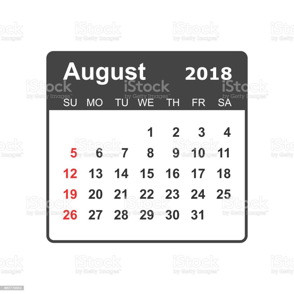 August 2018 Calendar Calendar Planner Design Template Week