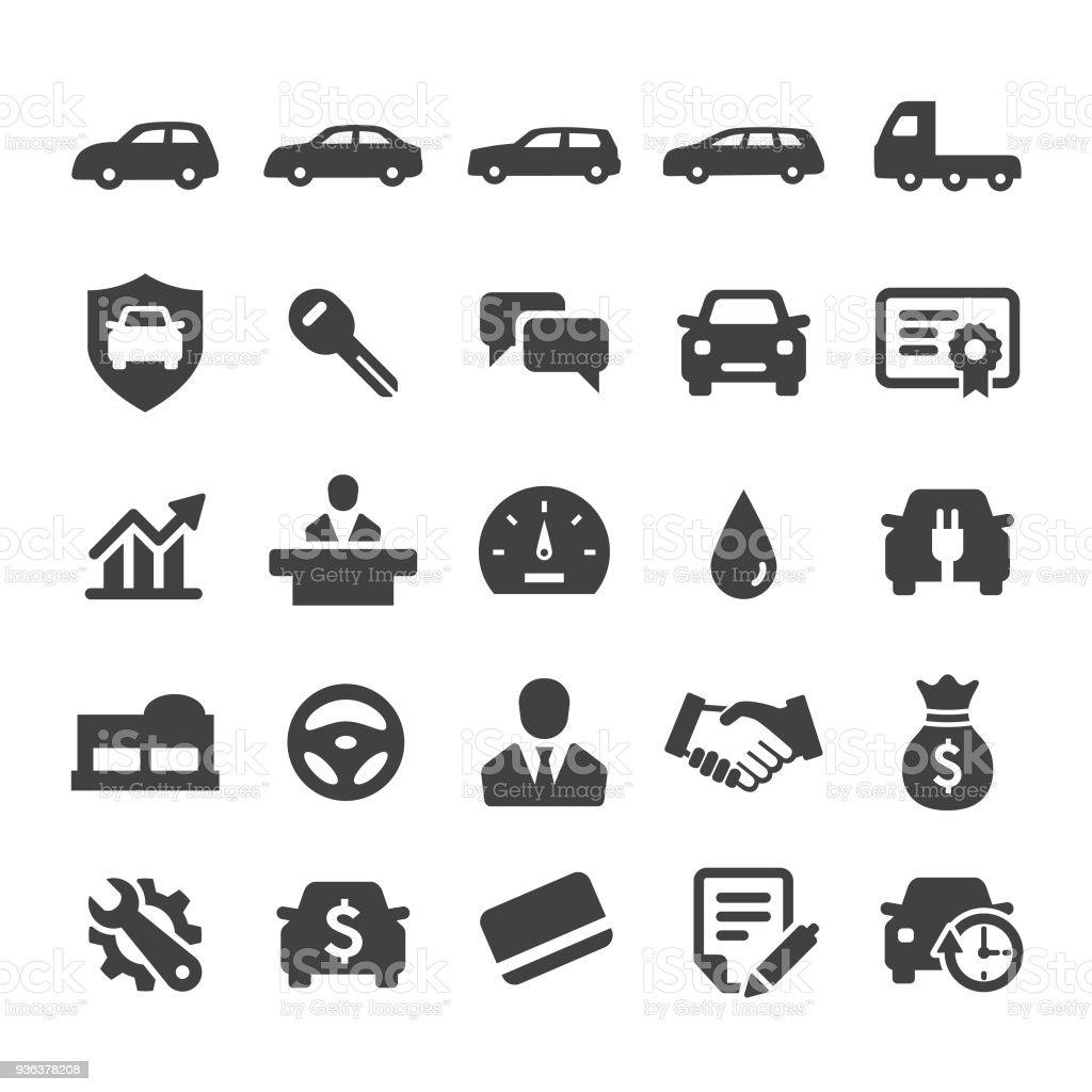 Auto Dealership Icons Set Smart Series Stock Illustration