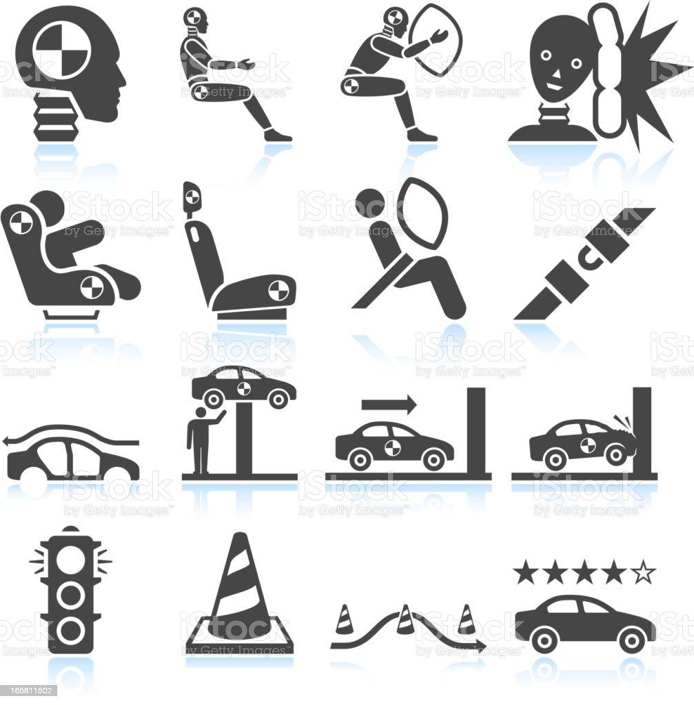 Auto Safety Testing Black White Vector Icon Set Stock