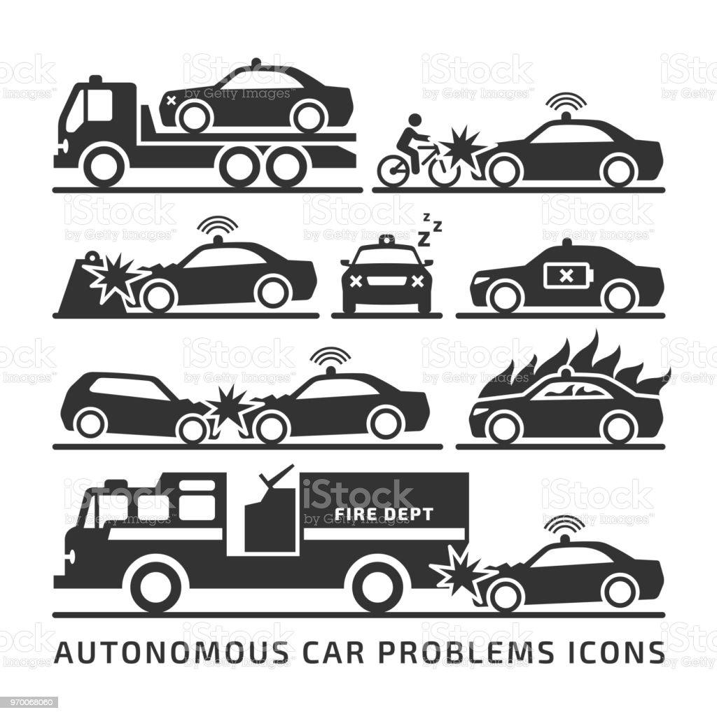Autonomous Car Problem And Accident Vector Icon Set Self