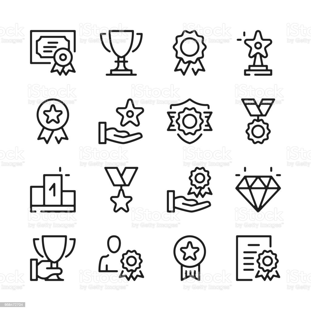 Awards Line Icons Set Modern Graphic Design Concepts
