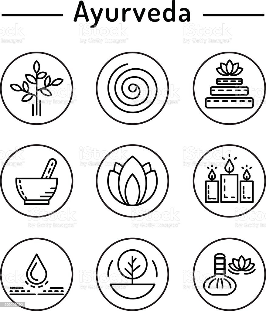 Ayurveda Set Icon Stock Vector Art & More Images of
