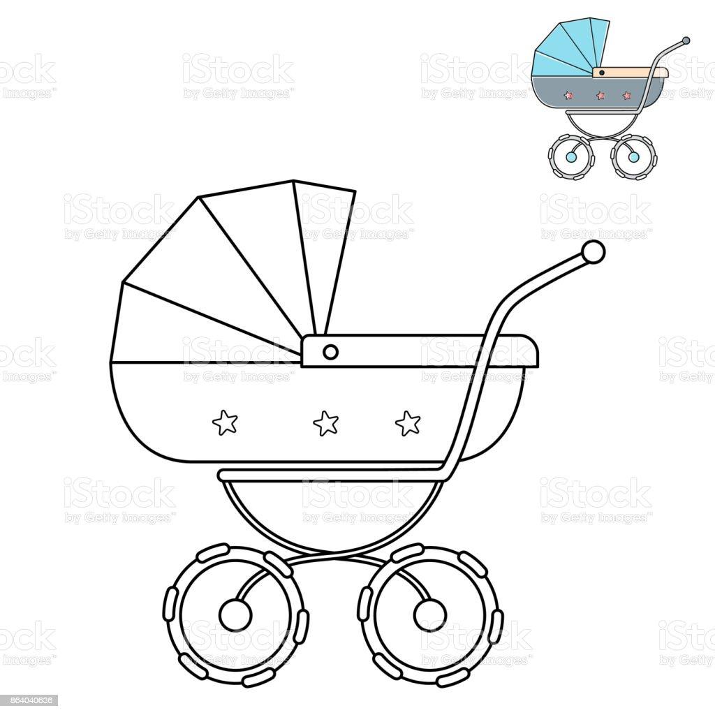 poussette de bebe dessin au trait noir et blanc collection de livres de coloriage enfants vecteurs libres de droits et plus d images vectorielles de art istock
