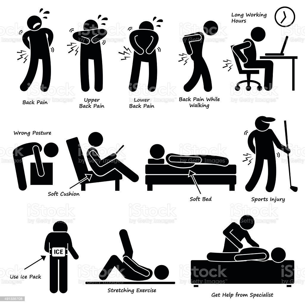 Back Pain Backache Pictogram Stock Vector Art & More