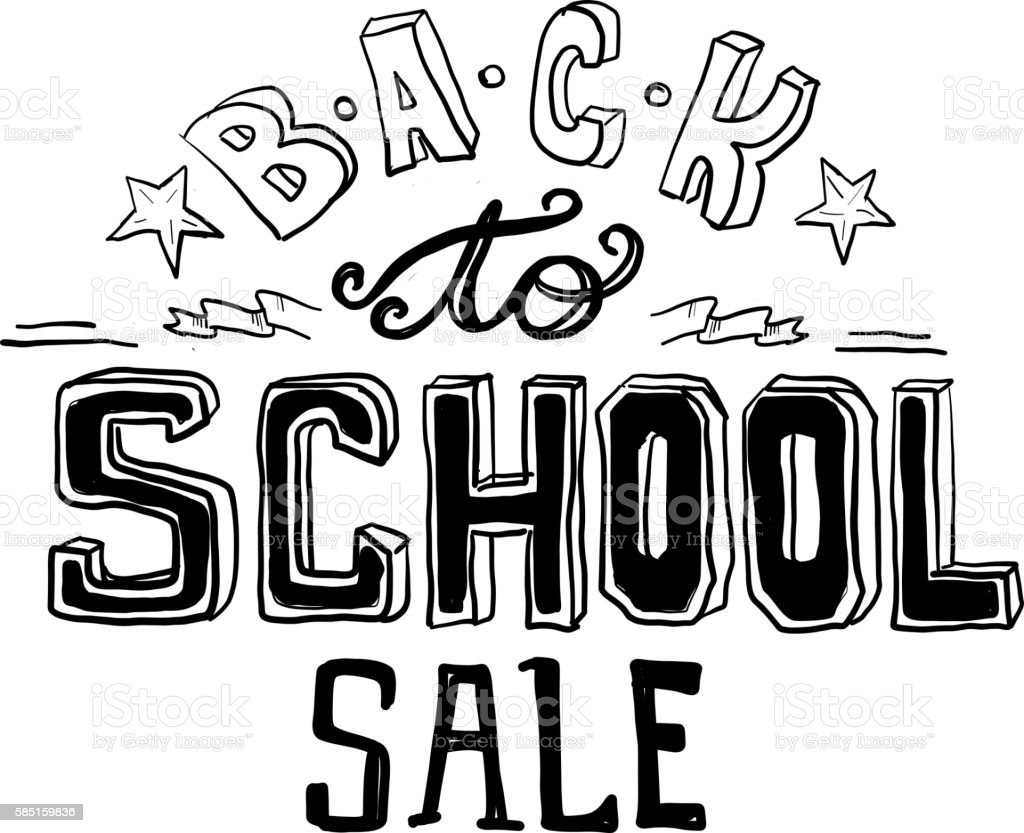 Back To School Sale Hand Lettered Text Design On White