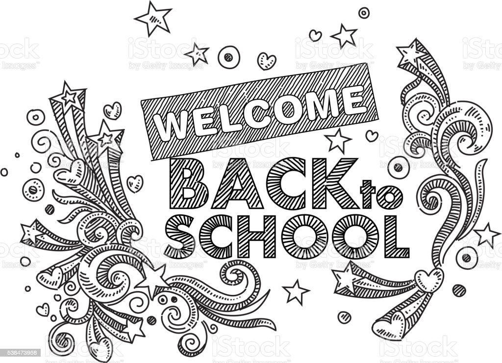 Back To School Text Drawing Stock Vector Art & More Images
