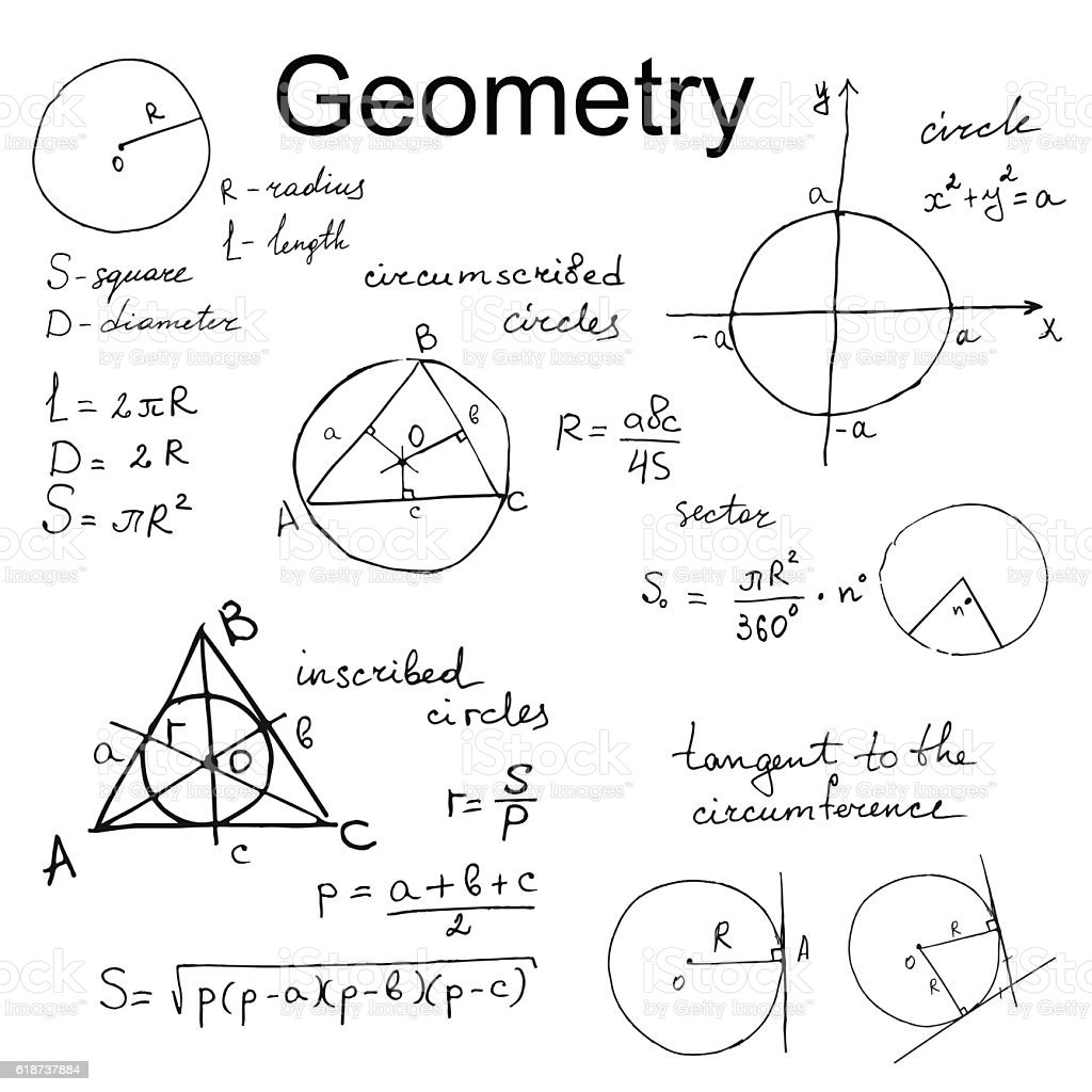 Background With Hand Draw Geometry Formulas Mathematics