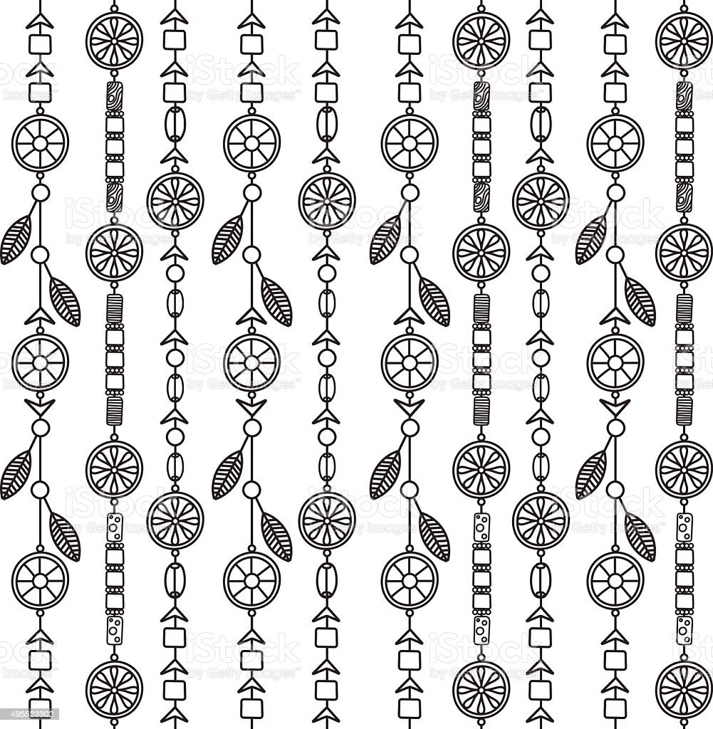 Backgroundpattern Of Beads With Elements Of Boho stock