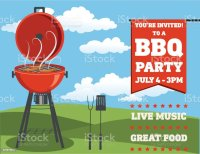 Backyard Bbq Background Invitation Template Stock Vector