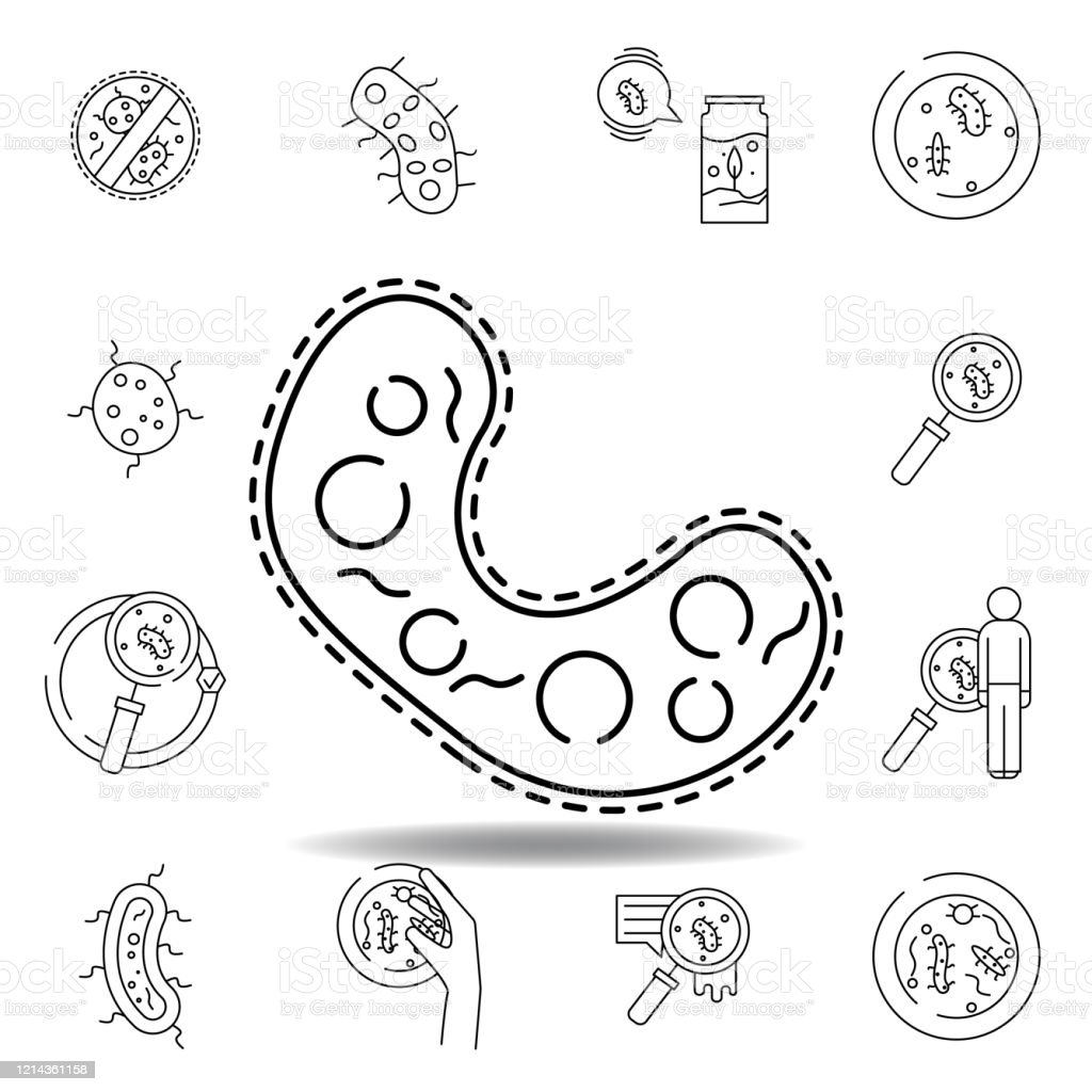 Bacteria Cell Line Icon Element Of Bacterium Virus
