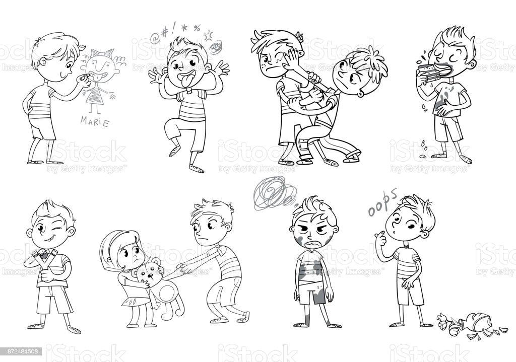 Bad Behavior Funny Cartoon Character Vector Illustration