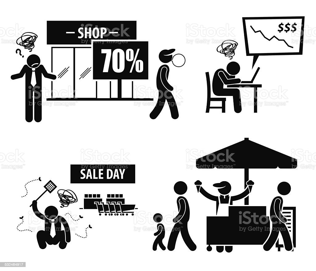 Bad Poor Business Day Stick Figure Pictogram Icons Stock