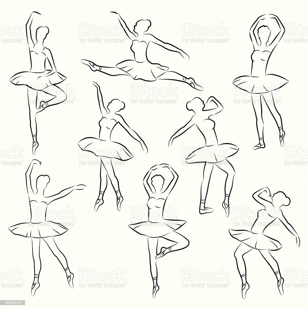 Ballet Outline Ballerina Stock Vector Art & More Images of