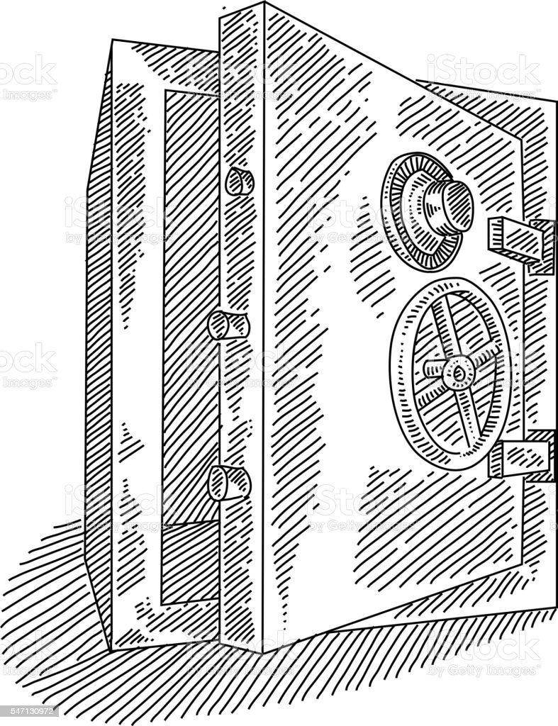 Bank Drawing Easy : drawing, Drawing, Vault, Illustrations, IStock